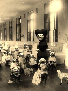Creepy 'n' weird ! Creepy Vintage, Vintage Halloween, Halloween Party, La Danse Macabre, Orphan Train, Creepy Pictures, Odd Pictures, Arte Obscura, Bizarre