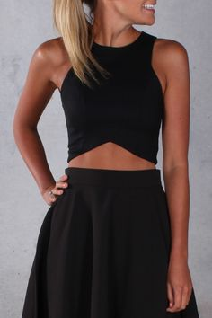 Piper Lubbock, two piece set, black, crop top, skirt, matching, night out, fun, fashion, fashionable, flirty, clothes