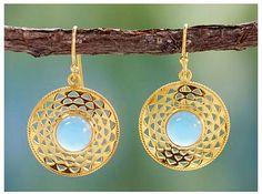 Jaipur Suns Gold Vermeil Blue Chalcedony Earrings