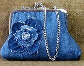 Denim Clutch Purse Handmade from Recycled Blue Jean Denim, Decorative Flower, Swarovski Crystals, Metal Kiss Lock Frame and Matching Chain
