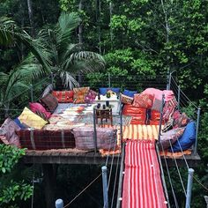 A bohemian tree top hideaway . The beautiful treetop hideaway is an awesome place to spend time and chillout with family .