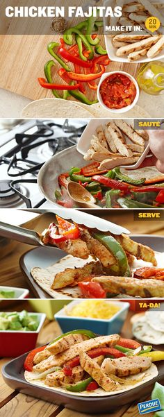 "Make sure everyone at the table throws up their hands and waves them around when you announce tonight's dinner by yelling ""Chicken Fajitas!"" Lots of bright veggies, warm tortillas and great flavors. Get the recipe at Perdue.com   Tip: To warm tortillas, stack them between 2 paper towels. Microwave on HIGH for 1 minute or until moist and warm."