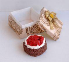 Miniaturní malinovo-čokoládový koláč v krabičce