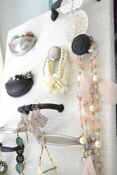 Lovely Jewelry Organizer - this would be great with vintage handles found at a flea market - totally shabby chic