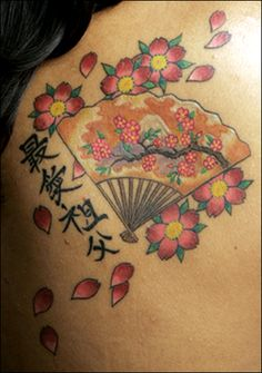 japanese fan cherry blossom writing
