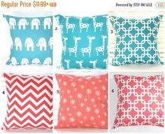 Pillow Cover, Pillow, All On SALE, Coral Pillow, Turquoise Pillow, Decorative Pillows, Throw Pillows, Beach Decor, Nursery, Blue