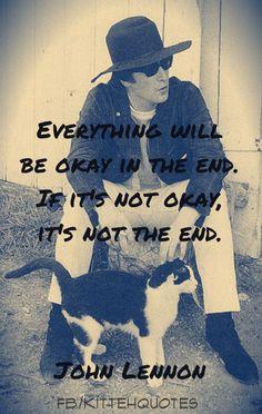 John Lennon and cat friend.