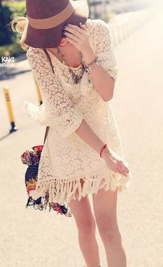 Apricot Ruffle Sleeve Lace Embroidery Tassel Dress -