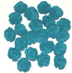 Teal Fabric Flowers Roses Appliques Set of 22 by scrapitsideways, $7.50