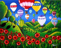 Whimsical Folk Art | Hot Air Balloons Over Poppies by Britenbucher, Renie. From the Art Needlepoint Company. 140.00