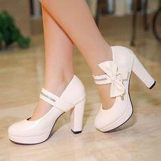 Fashion Womens Bowknot Ankle Strap Block Heel Platform Round Toe Mary Jane Shoes
