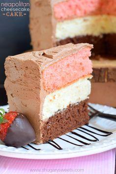 Neapolitan Cheesecake Cake - Shugary Sweets