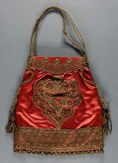 ~Date: c. 1880 Medium: Red silk satin, metallic gold lace and cording Dimensi~