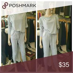 New Arrival! Fallout Jumpsuit New Arrival!Fallout jumpsuit  Color Heather gray Long Bat Sleeve Zipper Neckline Elastic Waistband Drawstring Skinny leg  Material  60% Polyester 35% Rayon 5% Spandex  I do bundle  Price is firm No trades  No lowball offers Pants Jumpsuits & Rompers