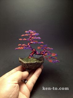 Red and purple wire bonsai tree by Ken To by KenToArt.deviantart.com on @DeviantArt
