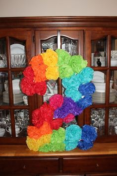 This age number decoration was the main decoration at a rainbow themed party! It was the biggest hit! It's just gorgeous!