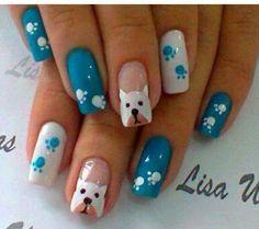 I need to wear dog nails! Dog Nail Art, Animal Nail Art, Dog Nails, Crazy Nail Art, Cute Nail Art, Cute Nails, Animal Nail Designs, Cute Nail Designs, Paw Print Nails