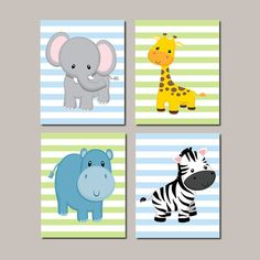 JUNGLE Nursery Animals Wall Art Baby Boy Nursery ELEPHANT