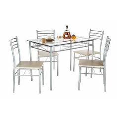 Charlton Home® Rea 3 Piece Dining Set & Reviews | Wayfair Glass Dining Table Set, Kitchen Dining Sets, 5 Piece Dining Set, Dining Table Chairs, Kitchen Chairs, Dining Furniture, Dining Room, Dinning Set, Glass Furniture