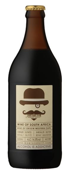 Wine in a beer bottle! This South African cabernet sauvignon/merlot blend is titled Bob's your uncle.