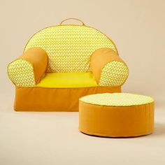 [The Land of Nod - Yellow Loop Nod Chair and Noddoman Ottoman] - I kind of wish I got this instead of the pottery barn kids Anywhere Chair.