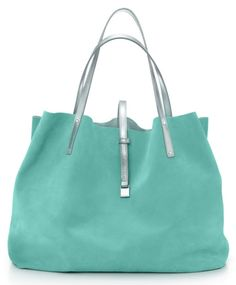 Piece of cake to make this Tiffany blue tote bag.  Thinking maybe ultra suede....