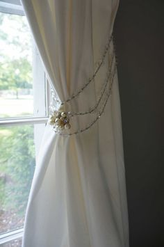 Curtain Tie Back Vintage Crystal Beads Pearls Sparkly Nursery Decor Girls Room Etsy Coupon Sale. $35.00, via Etsy.