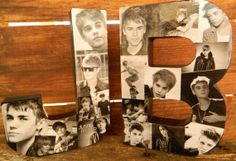 JB is for Justin Bieber Standing B/W 8in Collogue Letters on Etsy, $18.00
