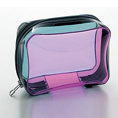 Clear Pink And Aqua Makeup Pouch