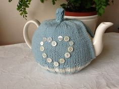 Button Heart Knitted Tea Cosy