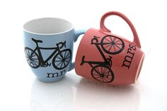 Mr and Mrs Bike,  Mug Set, pink and blue via Etsy We need these!!! And they are local
