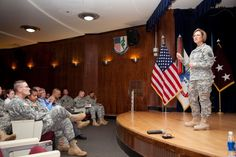 Lt. Gen. Patricia Horoho, U.S. Army surgeon general and commander, U.S. Army Medical Command, addresses Tripler Army Medical Center staff during a town hall while on a recent visit to Pacific Regional Medical Command staff and facilities in Honolulu. (Photo by Soraya Robello)
