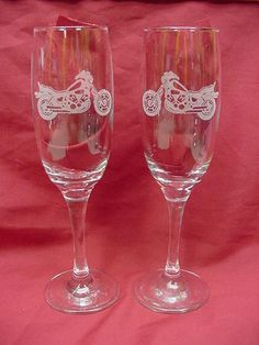 Motorcycle Themed Wedding Flutes, Each Custom Engraved per your order. Ordered by the pair. Biker Party, Motorcycle Wedding, Wedding Tips, Diy Wedding, Wedding Planning, Wedding Stuff, Biker Wedding Theme, Shelley Craft, Harley Davidson