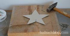 halbachblog I DIY I Anleitung für Kordelstern I Sternschablone I Hammer und Nägel