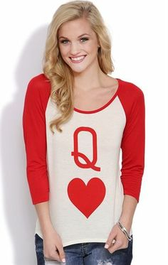 Deb Shops Raglan Top with Three Quarter Sleeves and Queen of Hearts Screen $10.00