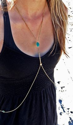 Gold and Teal Body Necklace by TribeMoray on Etsy