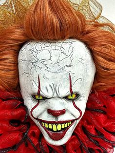 Your place to buy and sell all things handmade Ugly Clowns, Evil Clowns, Scary Clowns, Scary Clown Face, Clown Faces, Scary Halloween Wreath, Outdoor Halloween, Painting Tattoo, Body Painting