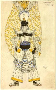 Le Dieu Bleu by Bakst 06.jpg Эскиз костюма Синего бога для постановки *Синий бог* Райнальдо Гана. 1912 г.