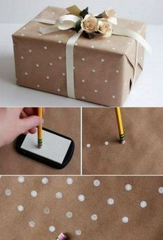 Tinker gift packaging and creative packaging of gifts - wrapping paper with . - Tinker gift packaging and pack gifts creatively – design your own gift wrap with white dots and p - Creative Gift Wrapping, Present Wrapping, Creative Gifts, Creative Gift Packaging, Diy Wrapping Paper, Packaging Ideas, Diy Creative Ideas, Cool Gift Ideas, Gift Wrapping Ideas For Birthdays