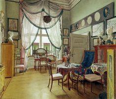 Painting by Eduard Gaertner (1849): Biedermeier living room in Berlin