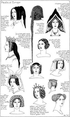 Women's hairstyles during the Medieval period. Varieties of hairstyles about the century between a chaperon (form of hood), a coiffure (an elaborate style), or a golden net caul (around the hair). {Photo only} Medieval Hats, Medieval Costume, Medieval Dress, Medieval Fashion, Medieval Clothing, Renaissance Hat, Medieval Gothic, Historical Hairstyles, Medieval Hairstyles