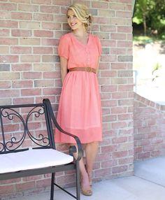Coral Jillian Dress by Mikarose | Trendy Modest Dresses | Mikarose Spring 2014 Collection