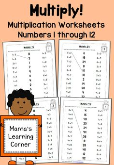 Multiplication Worksheets: Numbers 1 through 12 . Practice multiplication facts with this set of multiplication worksheets! 1 worksheet for each number Printable Multiplication Worksheets, Math Multiplication, Math 2, Math Resources, Math Activities, Third Grade Math, Homeschool Math, Homeschooling, Math Facts