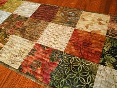 Quilted Table Runner  Batik Table Quilt in Moda's by susiquilts