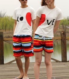 Rainbow Stripes Beach Shorts for Couple