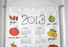 2013 calendar - tomato varieties - tea towel calendar - kitchen calendar. $28.00, via Etsy.
