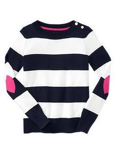 Striped Elbow-Patch Sweater by Gap