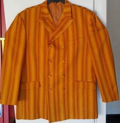 Mens Soprano Suit Jacket 48R Wood Paneled Orange Striped Double Breasted #Soprano #DoubleBreasted