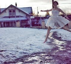 Olivia Bee - street ballet - ballerina -- More and more stories are coming out about women having health complications from modeling in extreme environments. Women posing in the snow can experience hypothermia and related issues. These women are applauded for their dedication to their work, but no comment is made about our society's passive approval of the sexualization and objectification of women coming before the models' physical fortitude.