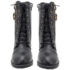 Black Quilted Moto Combat Boots With Side Buckle (£36) ❤ liked on Polyvore featuring shoes, boots, ankle booties, footwear, black boots, black military boots, short black boots, black lace up booties and black bootie boots